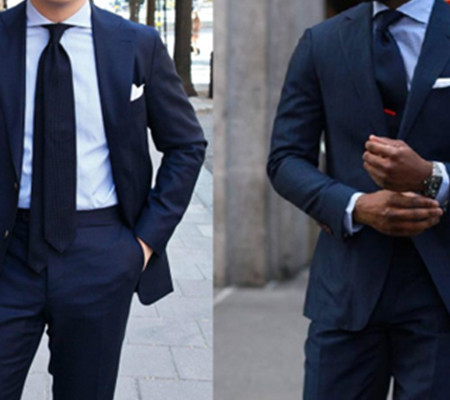 藏青色的西藏配什么领带_日常深蓝色西装的搭配技巧-法国莱克伊登西服定制